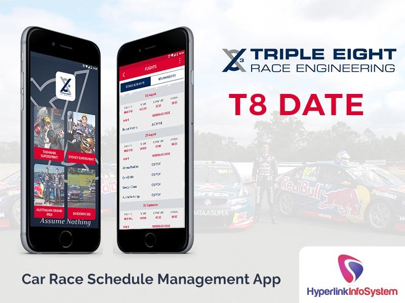 t8 date car race schedule management app